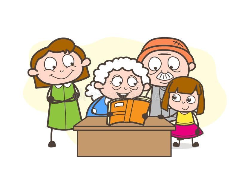 Γιαγιά κινούμενων σχεδίων που λέει μια ιστορία στη μεγάλη διανυσματική απεικόνιση παιδιών τους ελεύθερη απεικόνιση δικαιώματος