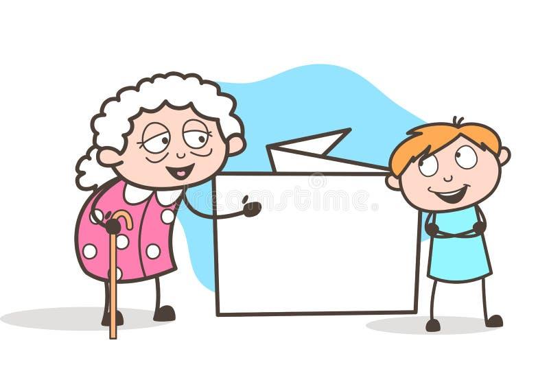 Γιαγιά κινούμενων σχεδίων που παρουσιάζει έμβλημα μηνυμάτων στη διανυσματική απεικόνιση εγγονών της διανυσματική απεικόνιση