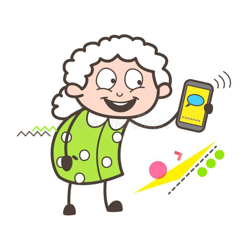 Γιαγιά κινούμενων σχεδίων που παρουσιάζει ένα μήνυμα στην κινητή διανυσματική απεικόνιση διανυσματική απεικόνιση