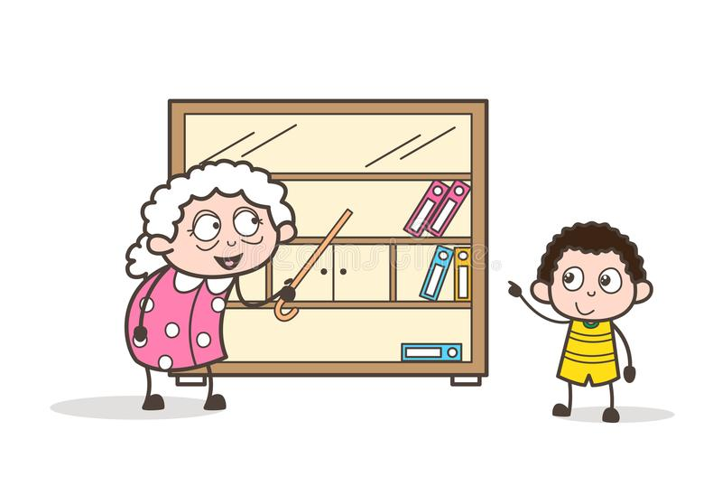 Γιαγιά κινούμενων σχεδίων που παρουσιάζει ράφι βιβλίων στο διάνυσμα εγγονών της γραφικό διανυσματική απεικόνιση