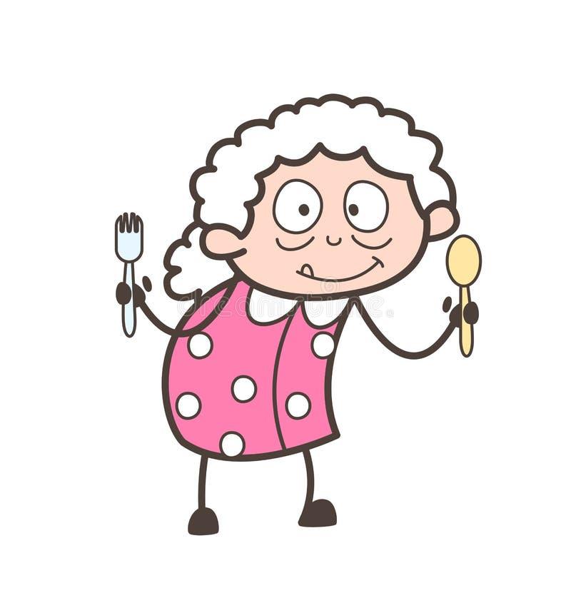 Γιαγιά κινούμενων σχεδίων που παρουσιάζει στα εργαλεία κουζινών διανυσματική απεικόνιση ελεύθερη απεικόνιση δικαιώματος