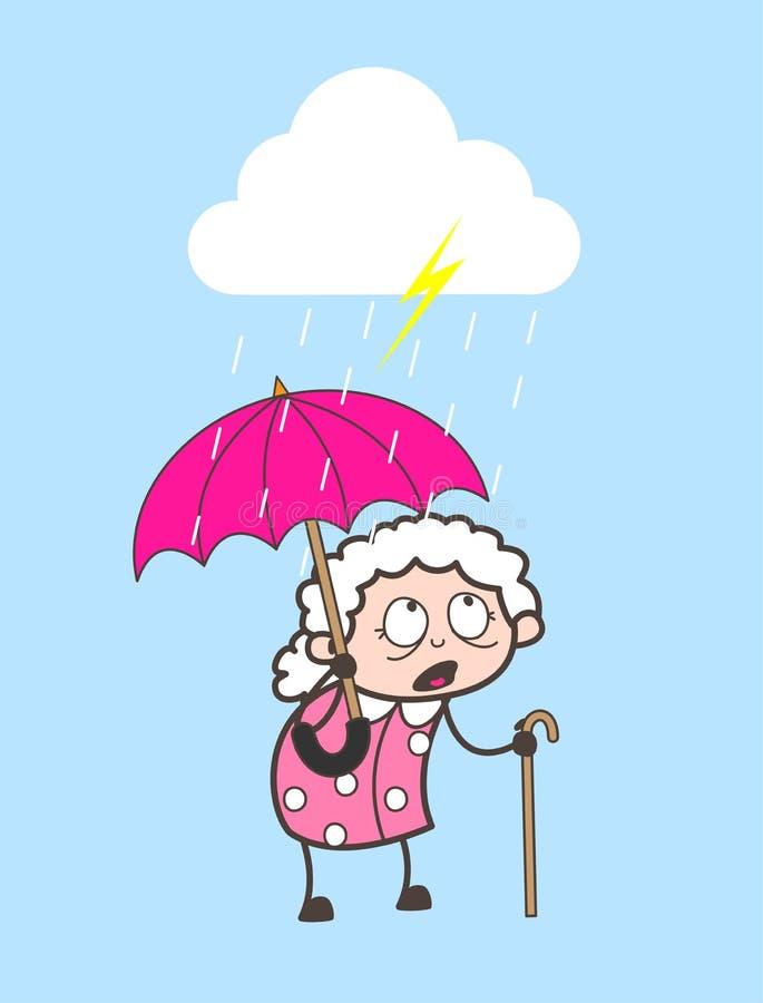 Γιαγιά κινούμενων σχεδίων που στέκεται στη διανυσματική απεικόνιση βροχής ελεύθερη απεικόνιση δικαιώματος
