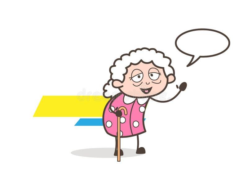 Γιαγιά κινούμενων σχεδίων που συζητά τη διανυσματική απεικόνιση διανυσματική απεικόνιση