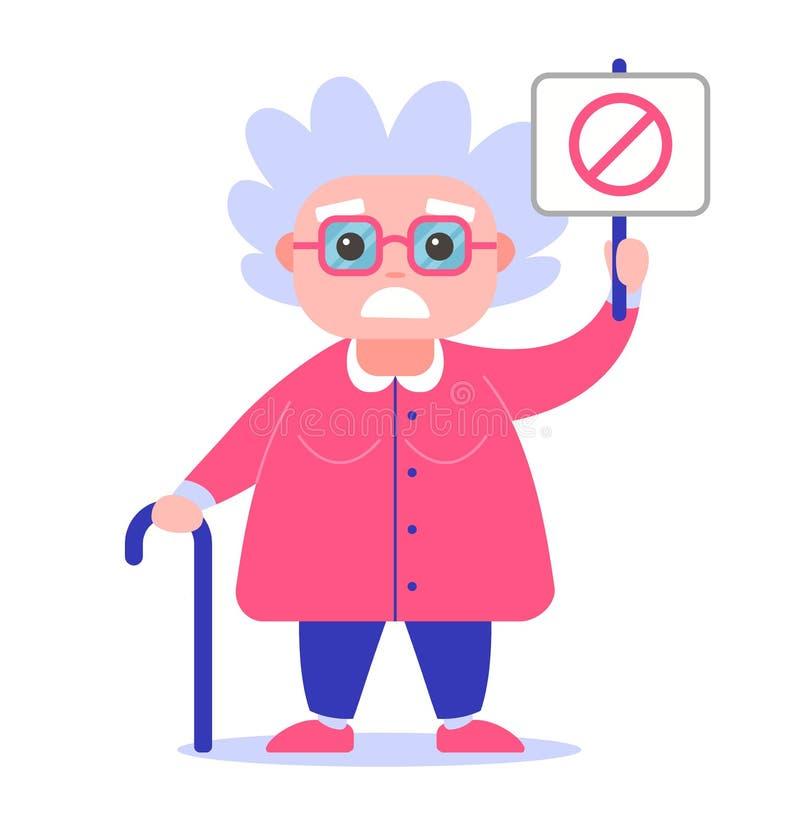 Γιαγιά με μια αφίσα ενάντια ελεύθερη απεικόνιση δικαιώματος