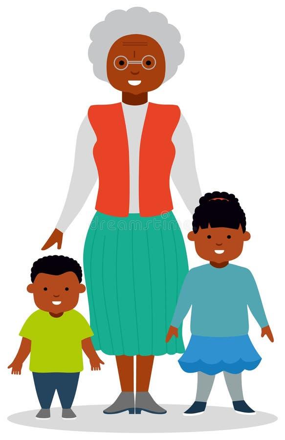Γιαγιά με τα εγγόνια, ένα αγόρι και ένα κορίτσι διανυσματική απεικόνιση