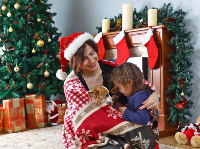 Γιαγιά με την εγγονή και το σκυλί στοκ φωτογραφία με δικαίωμα ελεύθερης χρήσης