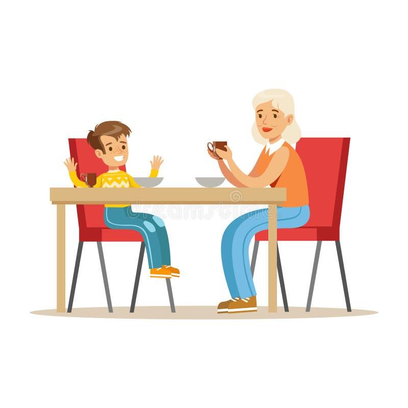 Γιαγιά που έχει το πρόγευμα με το αγόρι, μέρος των παππούδων και γιαγιάδων που έχουν τη διασκέδαση με τη σειρά εγγονιών απεικόνιση αποθεμάτων