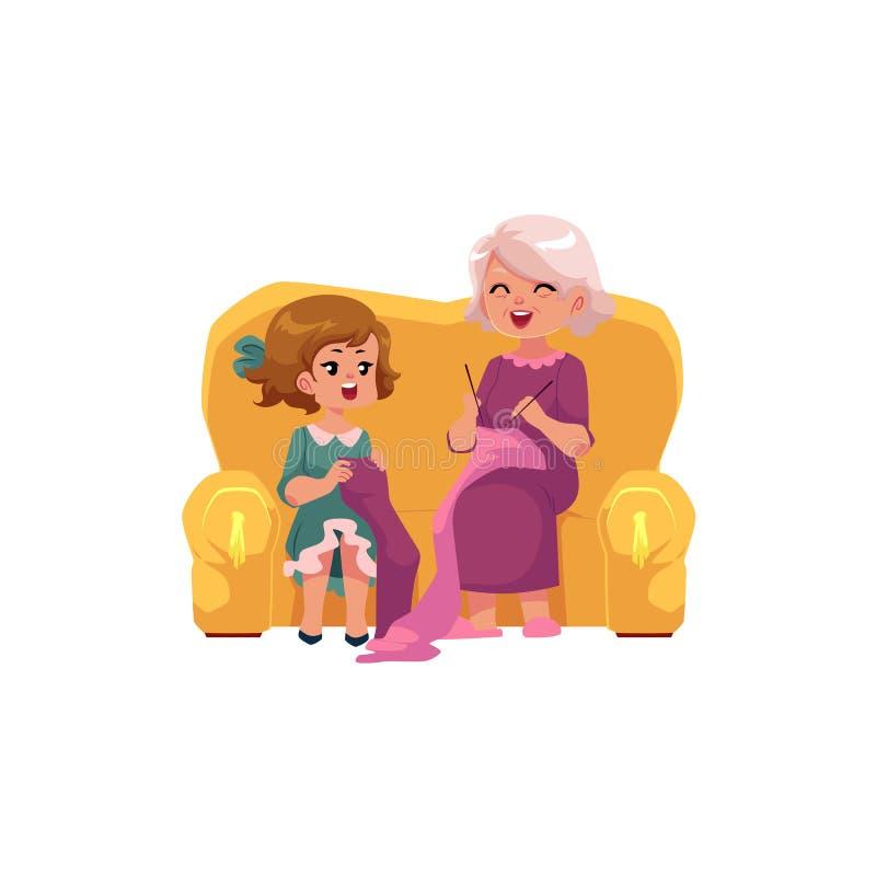 Γιαγιά που διδάσκει την εγγονή της για να πλέξει απεικόνιση αποθεμάτων