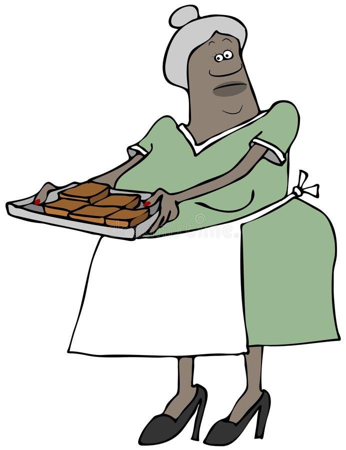 Γιαγιά που κρατά ένα σύνολο δίσκων της σοκολάτας brownies ελεύθερη απεικόνιση δικαιώματος