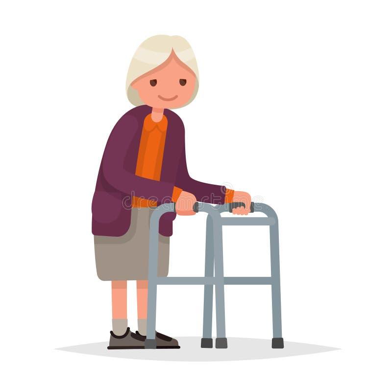 Γιαγιά που περπατά με έναν περιπατητή Διανυσματική απεικόνιση σε ένα επίπεδο διανυσματική απεικόνιση