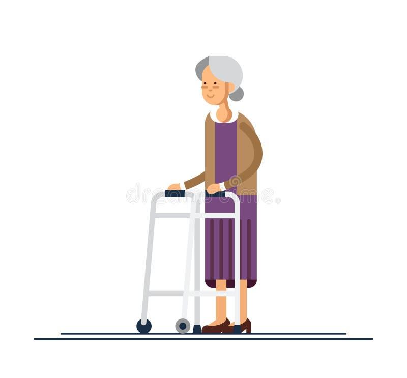 Γιαγιά που περπατά με έναν περιπατητή επίσης corel σύρετε το διάνυσμα απεικόνισης απεικόνιση αποθεμάτων