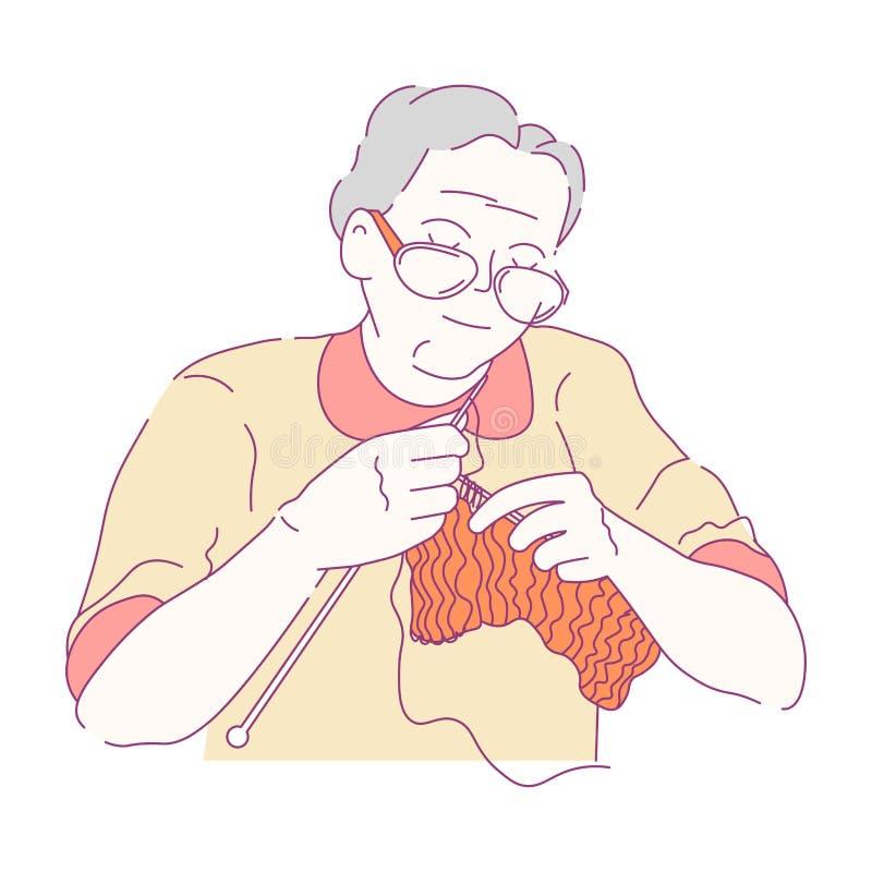 Γιαγιά που πλέκει το απομονωμένο θηλυκό χόμπι χαρακτήρα διανυσματική απεικόνιση