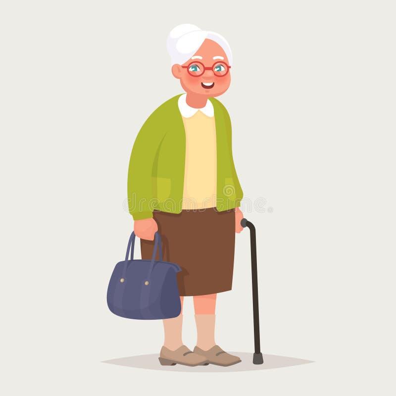 Γιαγιά που φορά τα γυαλιά Μια ηλικιωμένη γυναίκα με μια τσάντα και ένας κάλαμος στα χέρια της διανυσματική απεικόνιση