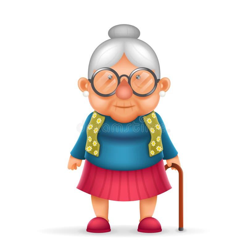 Γιαγιάδων απομονωμένος σχέδιο διανυσματικός εικονογράφος χαρακτήρα κινουμένων σχεδίων ηλικιωμένων κυριών τρισδιάστατος ρεαλιστικό ελεύθερη απεικόνιση δικαιώματος