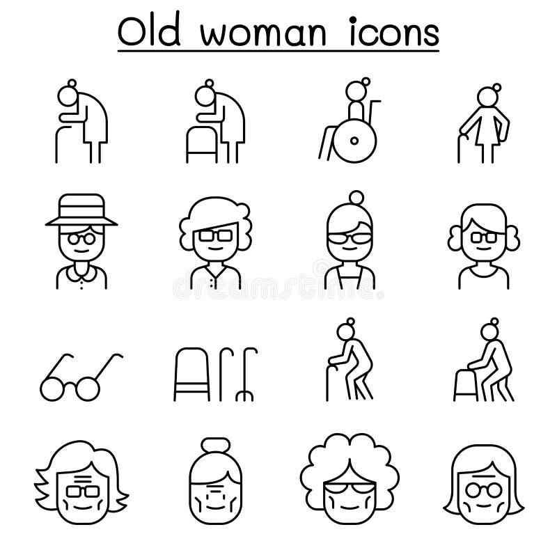 Γιαγιά, Grandma, εικονίδιο ηλικιωμένων γυναικών που τίθεται στο λεπτό ύφος γραμμών απεικόνιση αποθεμάτων
