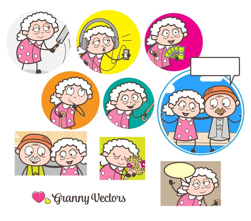Γιαγιά ` s κινούμενων σχεδίων πολλές διανυσματικές απεικονίσεις γραφικής παράστασης εννοιών απεικόνιση αποθεμάτων