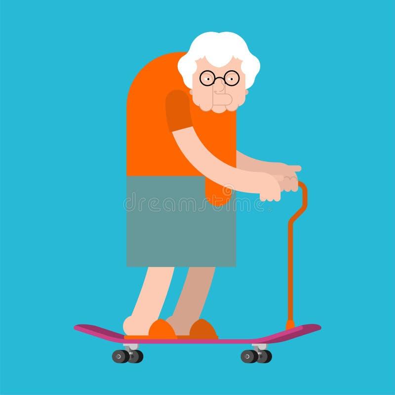 Γιαγιά skateboard Γιαγιά εν πλω Ηλικιωμένη κυρία Skateboarder ελεύθερη απεικόνιση δικαιώματος