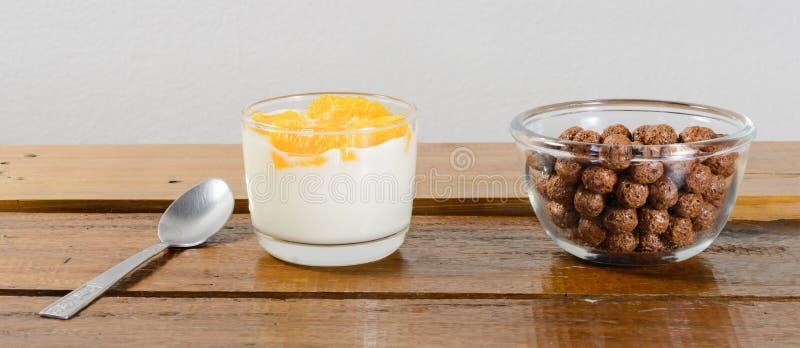 Γιαούρτι και δημητριακά στοκ φωτογραφία