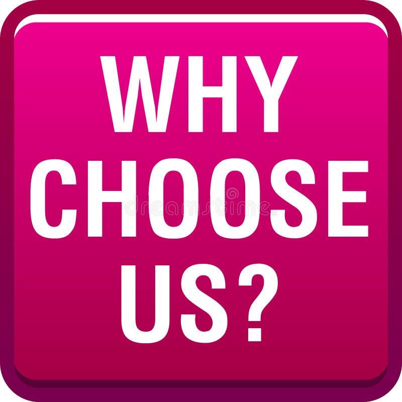 Γιατί μας επιλέξτε κουμπί ελεύθερη απεικόνιση δικαιώματος