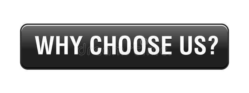 Γιατί μας επιλέξτε κουμπί διανυσματική απεικόνιση