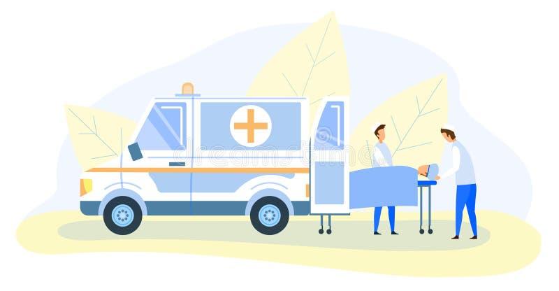 Γιατροί έκτακτης ανάγκης που μεταφέρουν το θύμα στο φορείο ελεύθερη απεικόνιση δικαιώματος