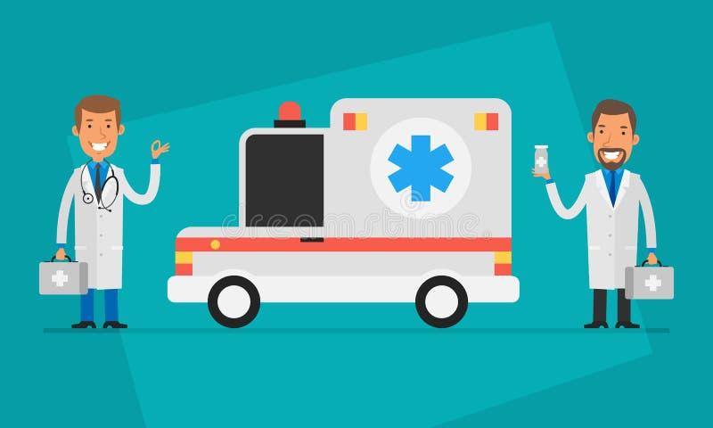 Γιατροί έννοιας ημέρα δύο γιατροί και αυτοκίνητο ασθενοφόρων διανυσματική απεικόνιση