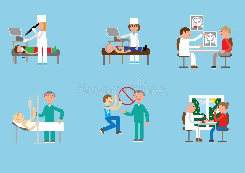 Γιατροί και ασθενείς στην κλινική διανυσματική απεικόνιση