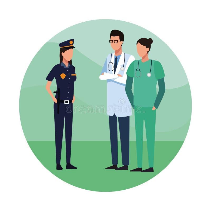 Γιατροί και αστυνομία απεικόνιση αποθεμάτων