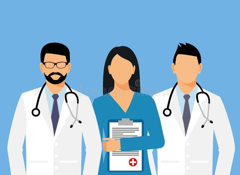 Γιατροί και βοηθός σε μια εσθήτα επιδέσμου με ένα στηθοσκόπιο γιατρός χωρίς ένα πρόσωπο επίσης corel σύρετε το διάνυσμα απεικόνισ ελεύθερη απεικόνιση δικαιώματος