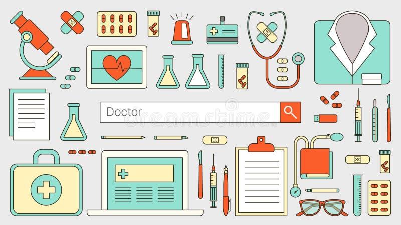 Γιατροί και υγειονομική περίθαλψη διανυσματική απεικόνιση