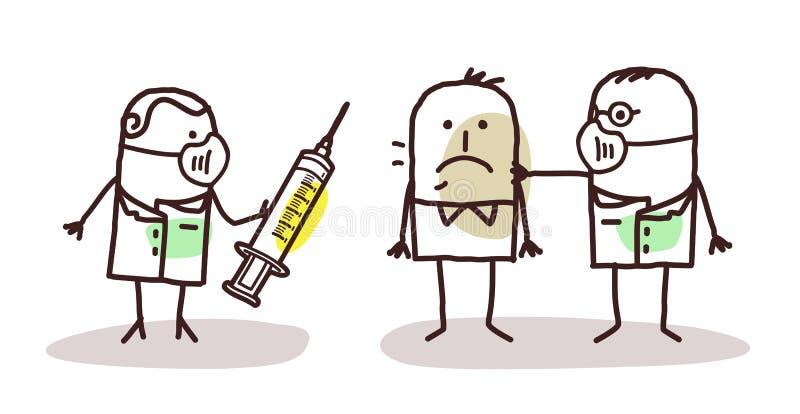 Γιατροί κινούμενων σχεδίων με το μεταδοτικό άτομο ελεύθερη απεικόνιση δικαιώματος