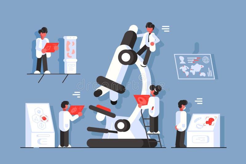 Γιατροί με το μικροσκόπιο στο εργαστήριο ελεύθερη απεικόνιση δικαιώματος