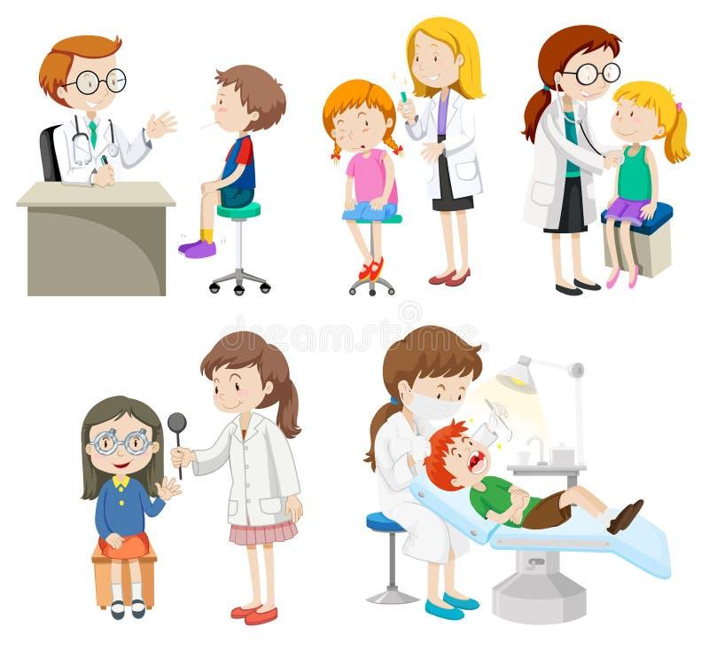 Γιατροί που δίνουν τη θεραπεία στους ασθενείς ελεύθερη απεικόνιση δικαιώματος