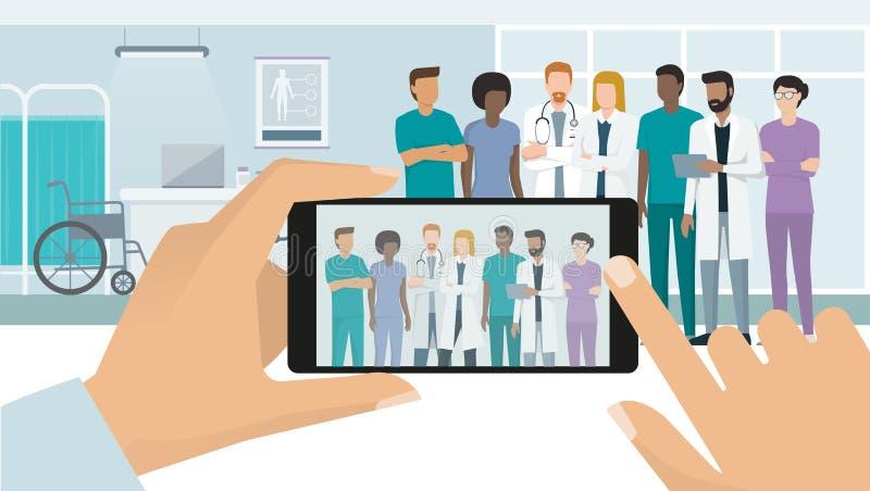 Γιατροί που θέτουν στο νοσοκομείο διανυσματική απεικόνιση