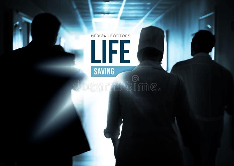 Γιατροί που πηγαίνουν γρήγορα κάτω από την αίθουσα για να σώσει τις ζωές απεικόνιση αποθεμάτων