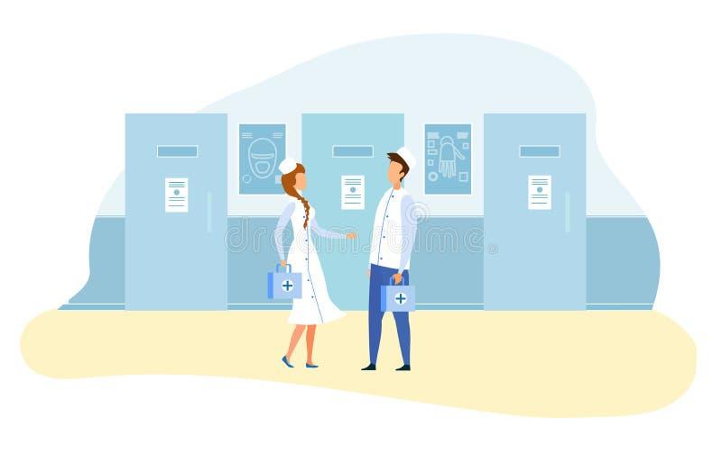 Γιατροί που στέκονται στον επιστημονικό εργαστηριακό διάδρομο ελεύθερη απεικόνιση δικαιώματος