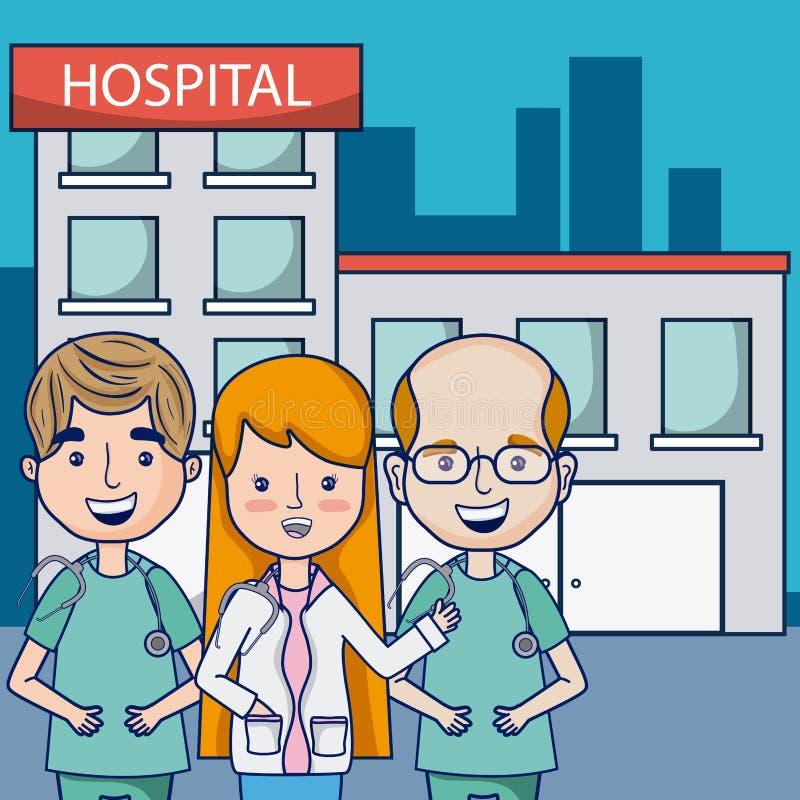 Γιατροί στο νοσοκομείο διανυσματική απεικόνιση