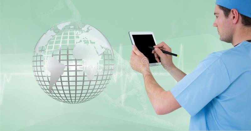Γιατρός (άτομα) που χρησιμοποιεί την ταμπλέτα του ενώ φαίνεται η τρισδιάστατη μεταλλική γη απεικόνιση αποθεμάτων