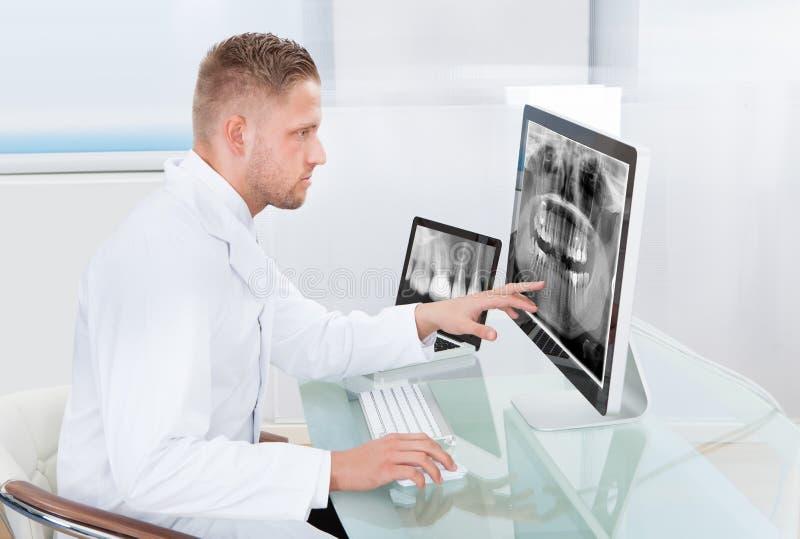 Γιατρός ή ακτινολόγος που εξετάζει μια ακτίνα X on-line στοκ φωτογραφία