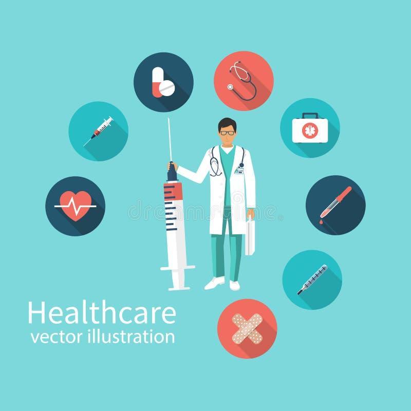 Γιατρός εικονιδίων με τη σύριγγα διαθέσιμη διανυσματική απεικόνιση