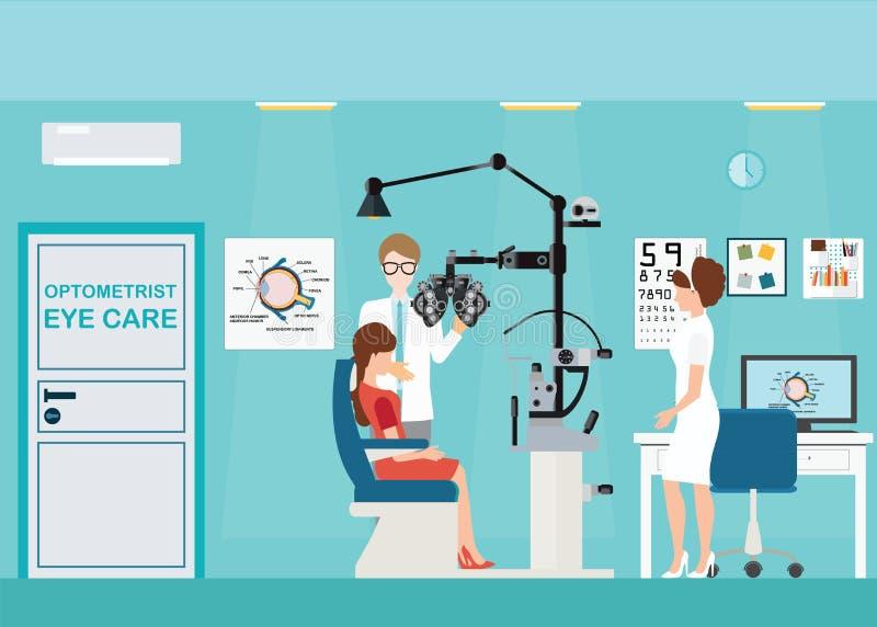 Γιατρός και ασθενής στο εσωτερικό οφθαλμολόγων διανυσματική απεικόνιση