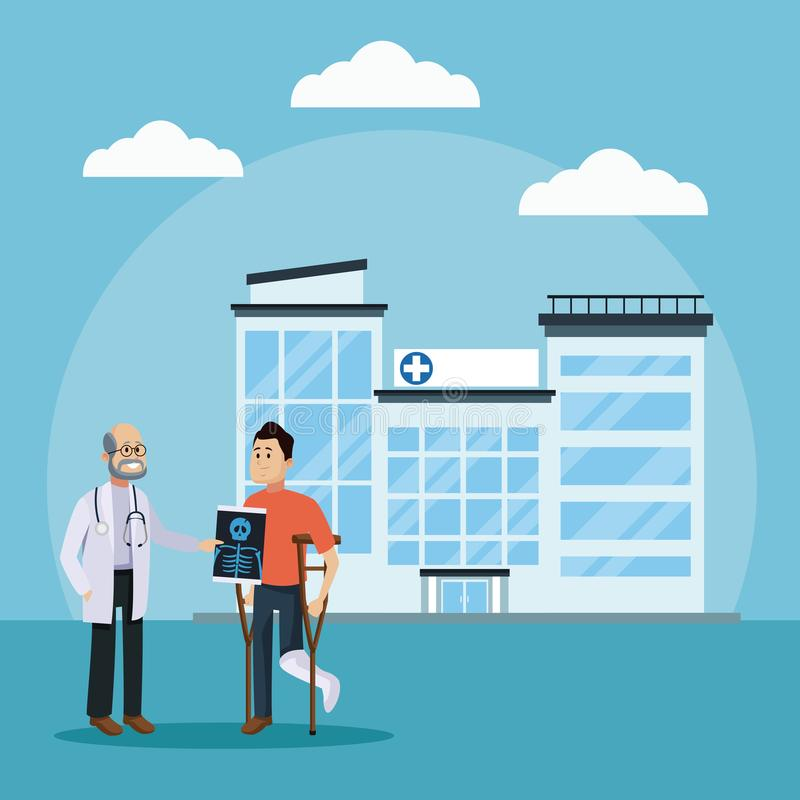 Γιατρός και ασθενής στο νοσοκομείο ελεύθερη απεικόνιση δικαιώματος