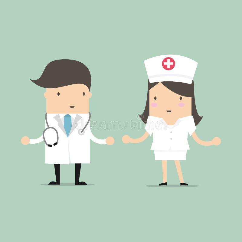 Γιατρός και διάνυσμα χαρακτήρα κινουμένων σχεδίων νοσοκόμων διανυσματική απεικόνιση