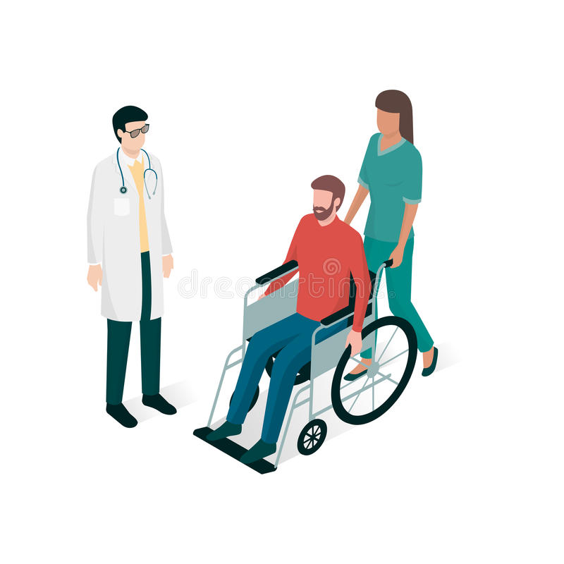 Γιατρός και νοσοκόμα που βοηθούν ένα άτομο στην αναπηρική καρέκλα διανυσματική απεικόνιση