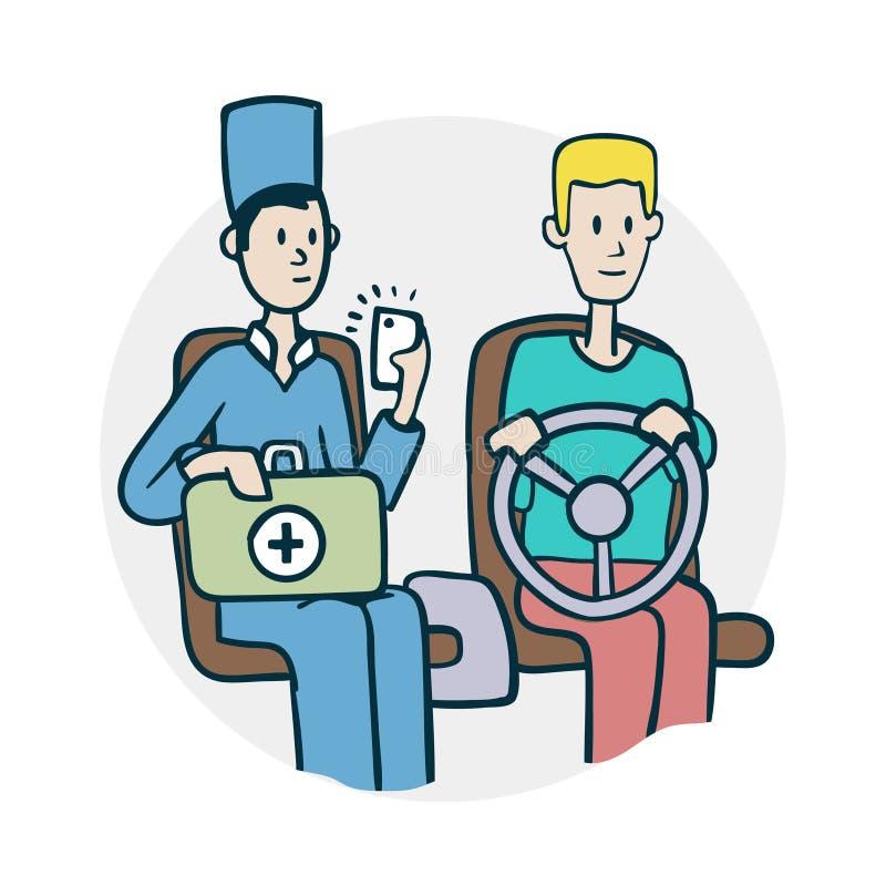 Γιατρός και οδηγός στο αυτοκίνητο απεικόνιση αποθεμάτων