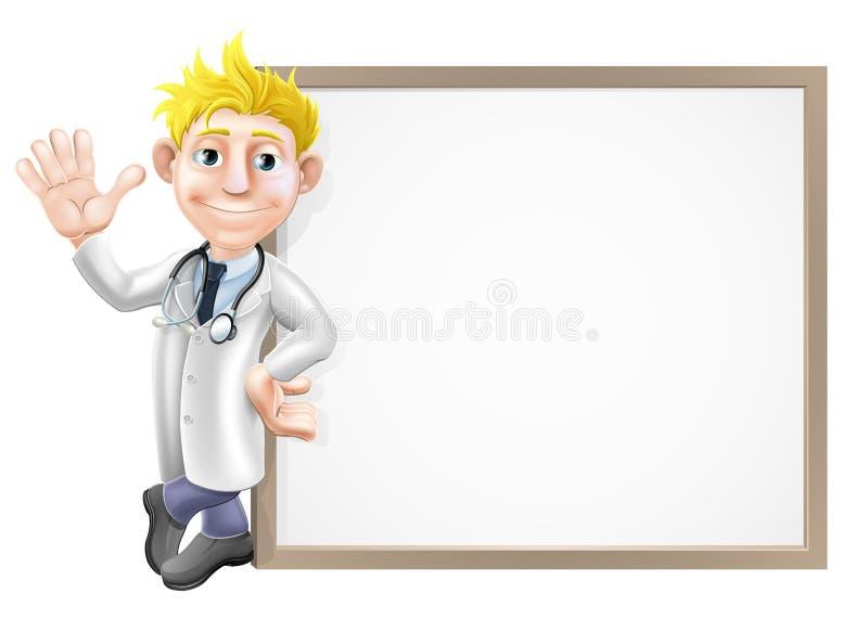 Γιατρός και σημάδι κινούμενων σχεδίων απεικόνιση αποθεμάτων