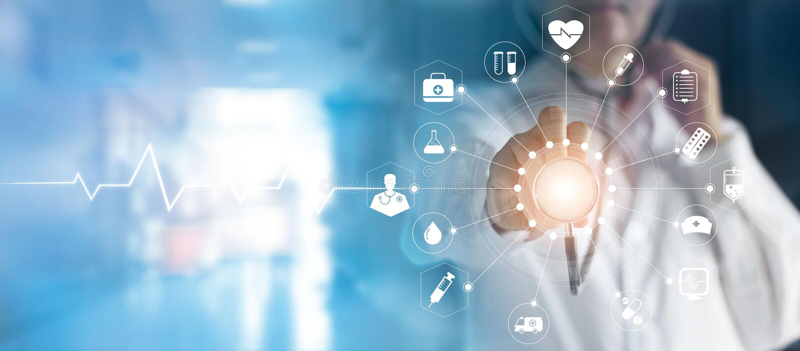 Γιατρός και στηθοσκόπιο ιατρικής υπό εξέταση σχετικά με το ιατρικό ΝΕ εικονιδίων απεικόνιση αποθεμάτων