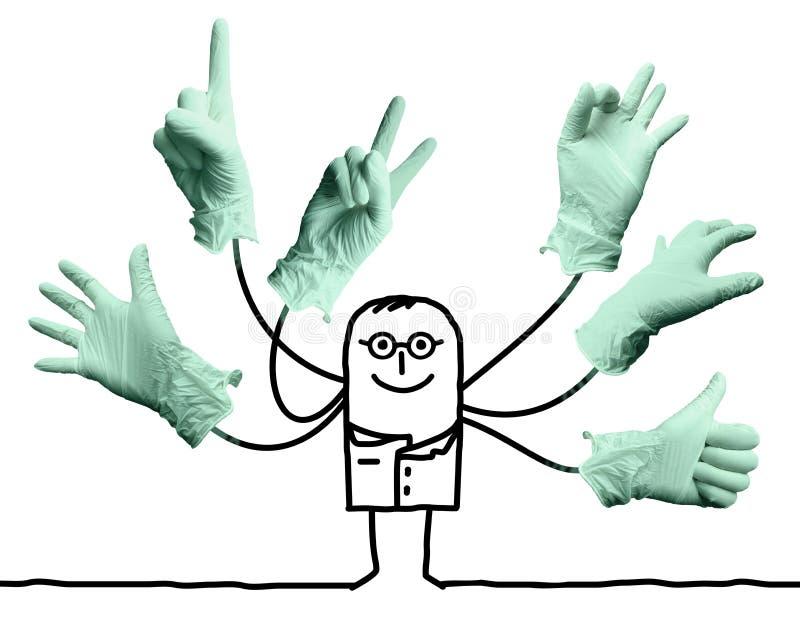 Γιατρός κινούμενων σχεδίων με τα πολυ σημάδια χεριών διανυσματική απεικόνιση