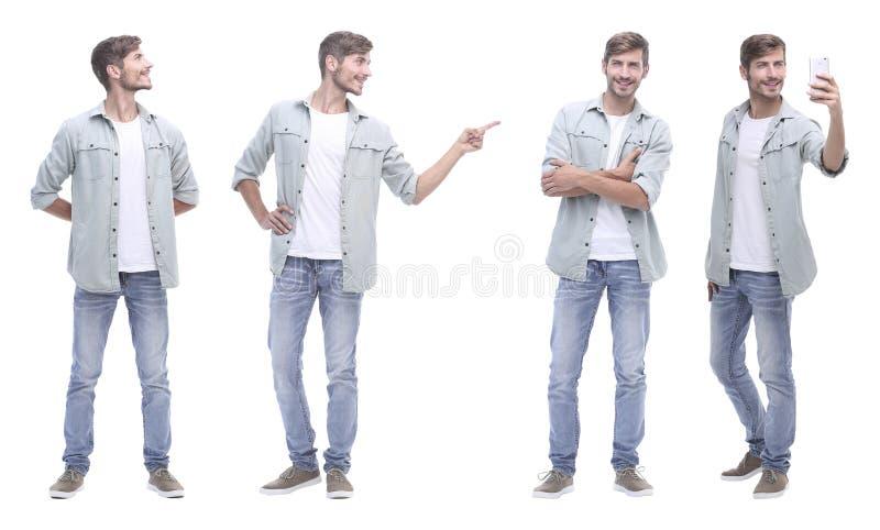 Γιατρός κολάζ και νεαρός άνδρας που απομονώνονται στο λευκό στοκ εικόνες με δικαίωμα ελεύθερης χρήσης