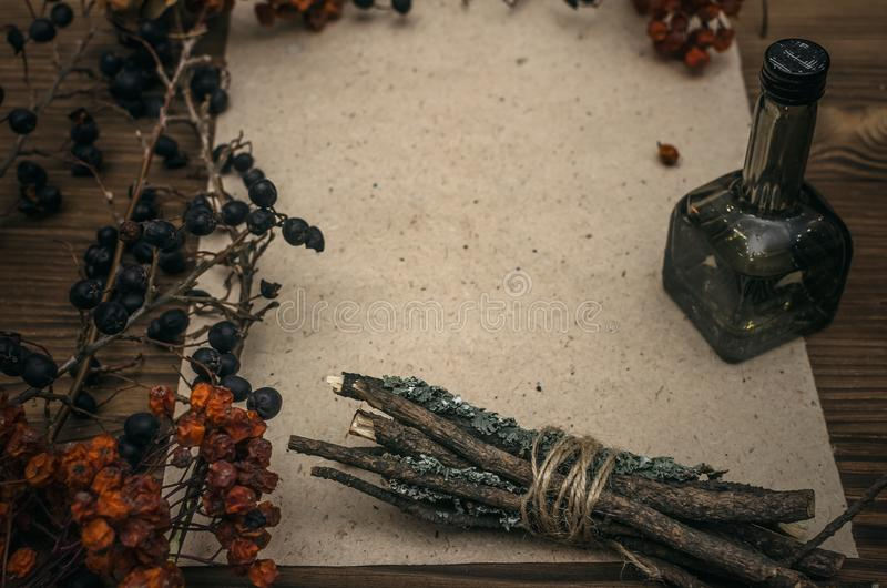 Γιατρός μαγισσών σαμάνος witchcraft Μαγικός πίνακας εναλλακτικός δίσκος biloba λουτρών μπαμπού ginkgo items medicine spa στοκ φωτογραφίες